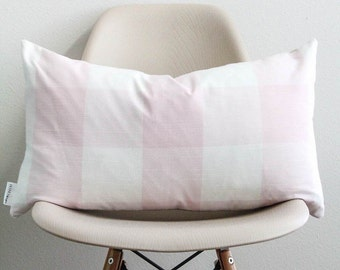 "14"" x 24"" Pink Buffalo Check Pillow Cover - Lumbar Pillow - COVER ONLY"