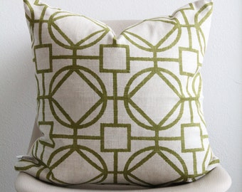 """20"""" x 20"""" Green Geometric Pillow Cover - Green Accent Pillow - COVER ONLY"""