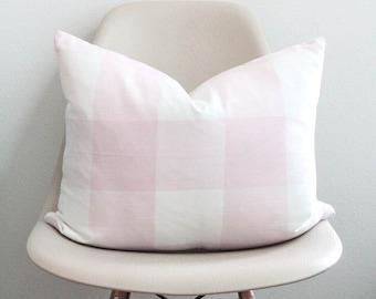 "16"" x 20"" Pink Buffalo Check Pillow Cover - Lumbar Pillow - COVER ONLY"
