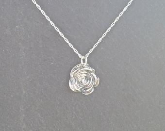 Silver Rose necklace/pendant, fine silver, flower necklace silver necklace
