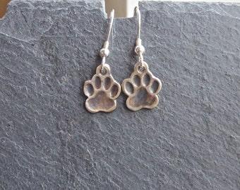 Paw Print Earrings, Animal Print Earrings, fine silver, silver earrings, paw earrings, animal lover