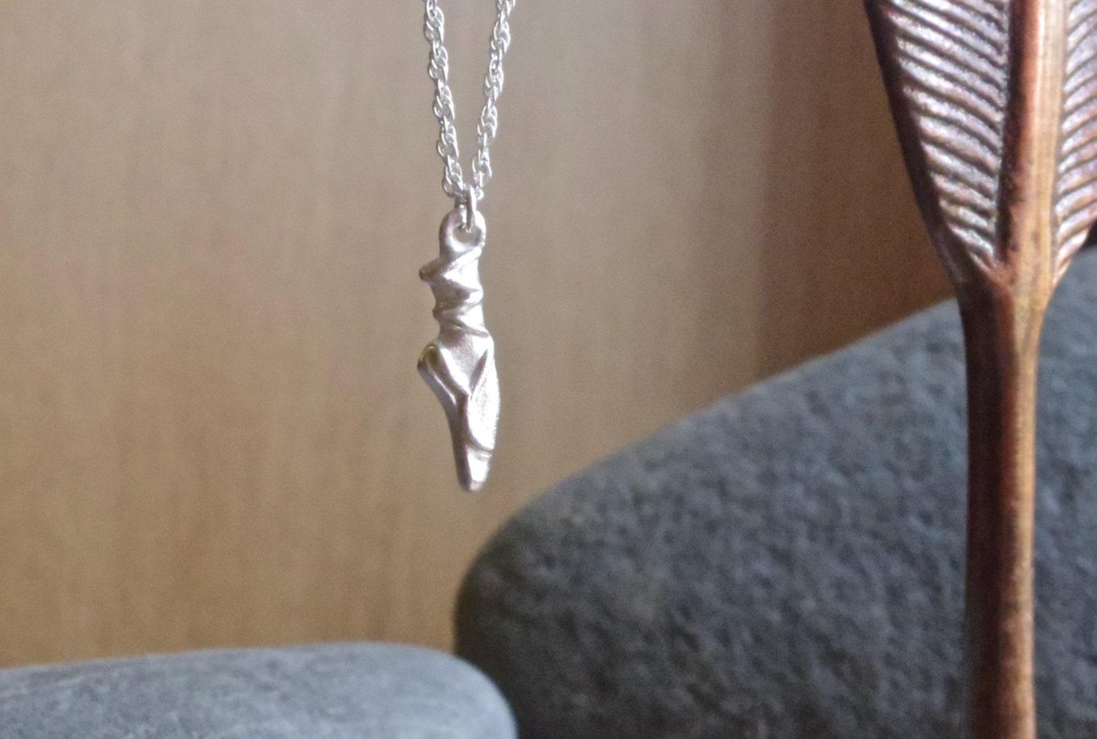 silver ballet shoe necklace, dancer, ballerina, fine silver necklace