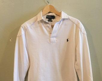 f0b0c7b6 POLO Ralph Lauren / rugby longsleeve / All white / vintage Polo / menswear  / sports / preppy / Golf / US vintage / Mens S