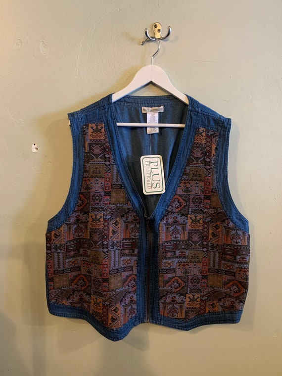 VEST / vintage pattern vest / Denim and quilt / de