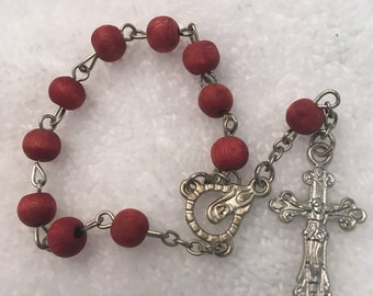 small red decades Rosary