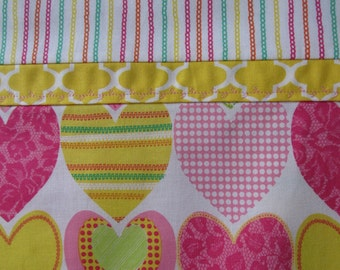 Happy and Bright Hearts Pillowcase or Valentine's Day Pillowcases