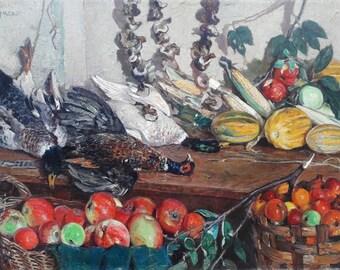 Still-life with flowers Antique oil painting original Soviet art Ukrainian artist 65-97