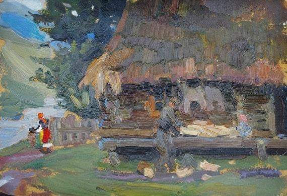 Winter painting Rural landscape Impressionism Antique oil painting original Soviet art Ukrainian artist Bondarenko S 35-25 1970s