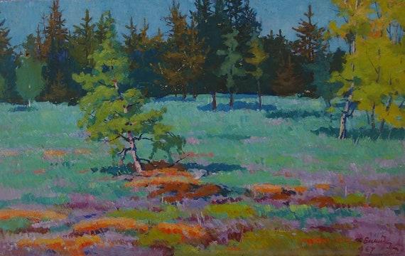 Impressionism Forest landscape woodland scenery Antique oil painting original Soviet art Ukrainian artist Vorobyov I 29.5-23 1970s