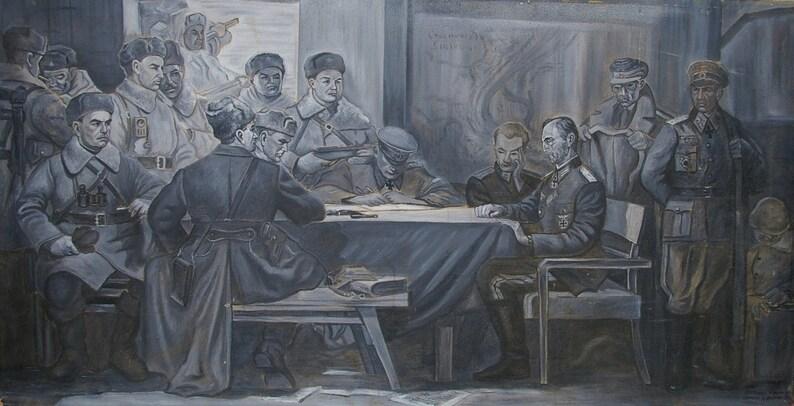 Battle painting Great Patriotic War  Soviet army  original oil painting Soviet art Ukrainian artist Filonov N 80-155 1993