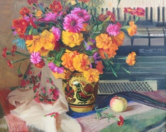 Still life with flowers and with food Antique oil painting original Soviet art Ukrainian artist Zhezher A. 51-61