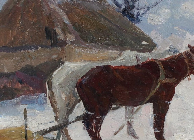 Winter landscape Antique oil painting original Soviet art Ukrainian artist Kogan-Shat 49-69.5 1960s