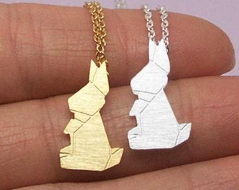 Rabbit Necklace, Bunny Necklace, Origami Rabbit Necklace, Animal Necklace, Rabbit Jewelry, Bunny Jewelry, Bridesmaid Necklace NB856