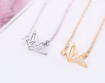 Origami Crane Necklace, Crane Necklace, Gold Crane Necklace, Paper Crane Necklace, Crane Jewelry, Origami Necklace, Crane Pendant NB503