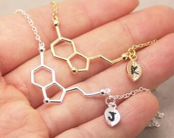 Serotonin Necklace, personalized initial necklace, chemistry necklace, science necklace, geometry necklace, graduation necklace SC001