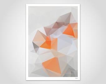 Orange — Poster, Picture, Abstract Art Print, Decoration, Scandinavian Art, Paper, Geometry Picture, Pastel, Minimalist Pattern, Kitchen Poster