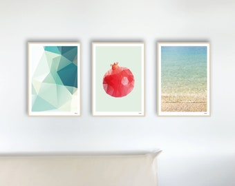 Set of 46 Turquoise — Posters, Maritime Pictures, Turquoise Art Prints, Picture Scandinavian, Friendship Gift, Mountains Geometric Decoration, Sea Beach