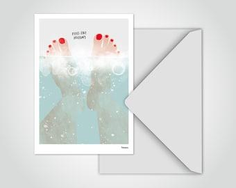 banum postcard bathtub — funny postcard feet, postcard wedding, birthday card feet up, holiday card sea, greeting card relaxation