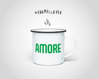 Amore Enamel Mug — Enamel Cup with Black Edge, Stainless Steel Cup Funny Saying, Outdoor Camping Mug, Coffee Cup Teacup Love