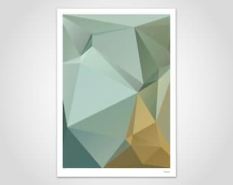 Nil 3 — modern poster, abstract art prints, contemporary wall art prints, geometric, minimalist, green kaki brown ochre yellow art
