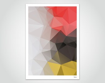banum Lea — Poster Low Poly, Pictures Polygram Triangle, Art Prints Abstract, Decoration Living Room, Poster Germany Flag Flag, Picture red gold
