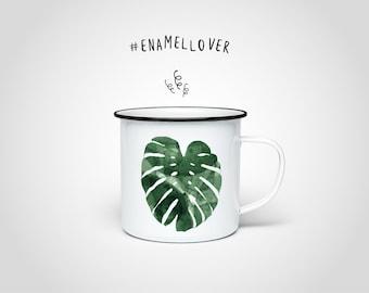 Monstera Enamel Mug — Enamel Cup with Black Edge, Stainless Steel Cup, Outdoor Camping Vintage Mug, Coffee Tea Mug, Deco Plants