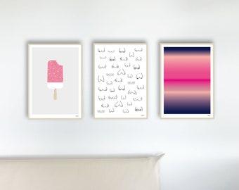 banum poster set 47 girl — poster set, modern pictures pink, art print women, poster pink, women pictures, fine line art women, picture bosom