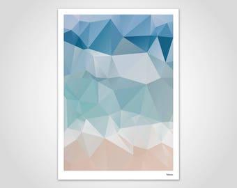 Sea — Poster, Art Print, Scandinavian Poster, Art, Art Print, Modern, Illustration, Abstract, Geometry, Gift, Lowpoly, Design