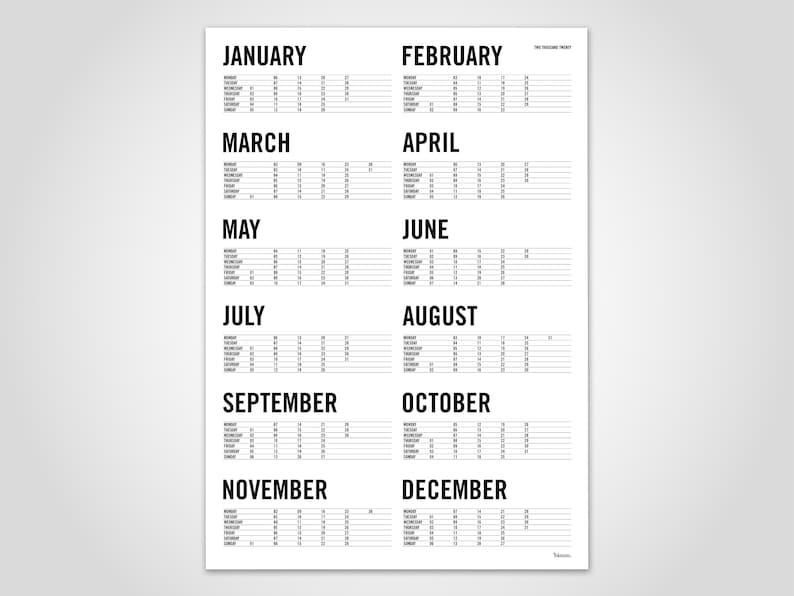 Sei Nazioni 2020 Calendario.Calendario Trend Parete 2020 Calendario Calendario Poster Anno Pianificatore Minimalista Poster Scandinavo Pianificatore Tipografia