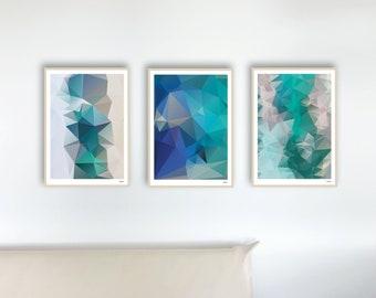 Set 38 Aqua — Posters, Pictures, Art Prints, Decoration, Geometric, Illustration, Scandinavian Decoration, Minimalist, Maritim, Water, Turquoise Picture