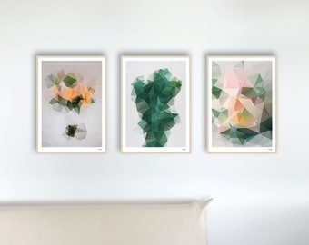 Set 44 Nature — Poster pastel, art print, pictures, poster nature plant. geometric, decoration flower picture, monstera art green, picture living room