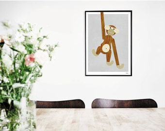 banum monkey — poster wooden monkey, art prints design monkey, gift office, animal poster kids, poster nursery, picture hanging monkey, monkey picture,