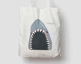 Shark — jute bag, cotton bag, shopping bag, jute, jute bag, carrier bag, fabric bag, bag, shoulder bag, shark, sea, veggie