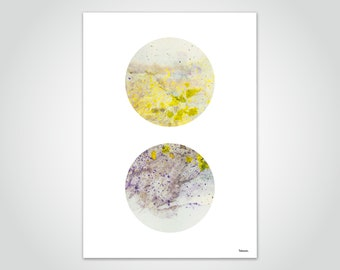 banum Globe N2 — yellow poster, geometric poster circles, abstract art prints, watercolor yellow, modern art, poster wall decoration, office pictures