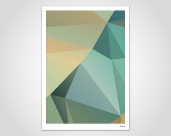 Nil — Modern Poster, Abstract Art Prints, Contemporary Wall Art Prints, Low Poly, Geometric, Minimalist, Green kaki, Brown Ochre, Yellow