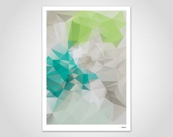 Linde — Poster, Art Print, Scandinavian Poster, Art Print, Modern Art, Illustration, Abstract Geometry, Gift, Lowpoly, Design Green
