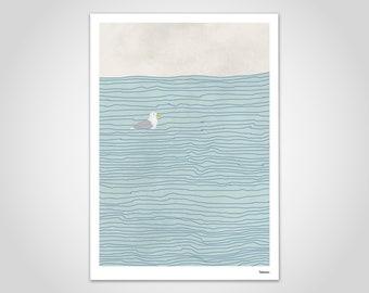 banum seagull N1 — poster seagull, pictures maritim, art prints holiday sea, illustration beach sea lake, poster nursery, poster living room