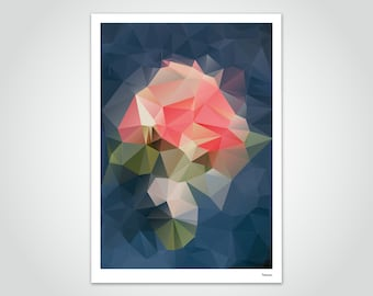 banum Bluerose — Poster Low Poly, Poster Polygon Blue Red, Art Print Flowers, Living Room Decoration Flowers, Abstract Prints, Poster Red Roses