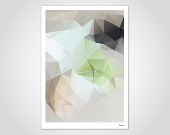 banum linde N2 — poster polygon, art print low poly art, geometry art, picture triangle, decoration living room gift, low poly prints