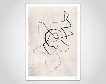 banum sketch Free 2 — poster fine line art, poster black beige, abstract art, minimalist art, poster portrait lines, drawing
