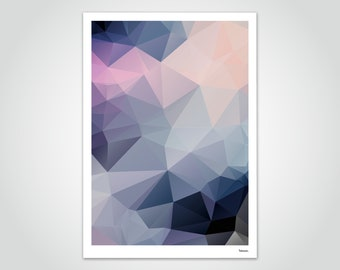 banum Ima — Poster Low Poly, Poster Polygon Geometry, Art Print Colorful Flowers, Living Room Decoration Flowers, Abstract Art Picture, Poster Floral