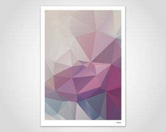 Floral — Modern Poster, Abstract Art Prints, Contemporary Wall Art Prints, Low Poly, Polygram, Graphic Design, Geometric, Minimalist