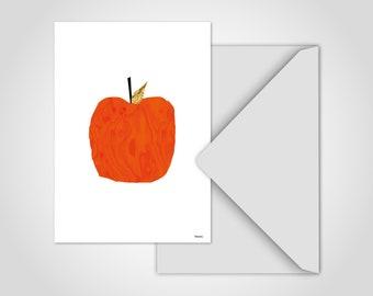Postcard Fruit 1 — Card Apple Card, Greeting Card, Card Nursery, Red Apple Art Print, Scandinavian Pictures, Vegan Vegetarian Kitchen Decoration