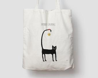Catmas 2 — Jute bag, cotton bag, tote bag, jute, jute bag, tote bag, fabric bag, shoulder bag, Christmas, XMAS