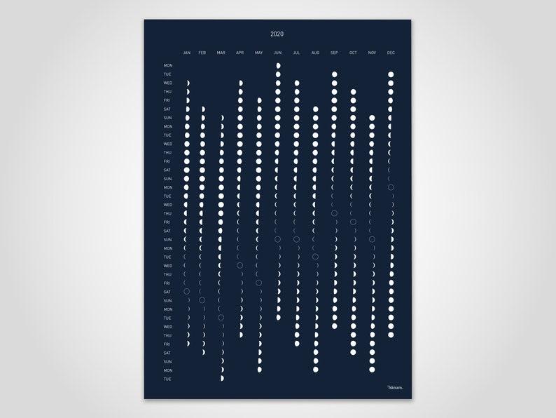 Darkmoon/ Lunar Calendar 2020 Calendar Blue Wall Calendar image 0