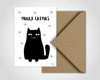Merry Catmas/Christmas cards, postcards, greeting cards, cards, cats, Christmas, fir tree, congrats, happy Feast, Snow, stars