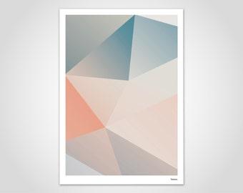 Jellyfish 1 — modern poster, abstract art prints, contemporary art, living room art, geometry art, pastel poster, Scandinavian art