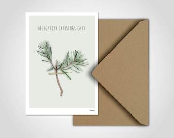 Obligatory Christmas Card / Christmas Card, Greeting Card, Christmas, Snow, Snowman, Winter, Family, Christmas Card, Fir Branch, Branch
