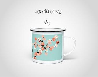 Sakura N1 Enamel Mug — Enamel Cup Black Rim, Stainless Steel Cup Japan, Enamel Mug Spring Flowers, Cherry Blossom Tea Coffee Mug