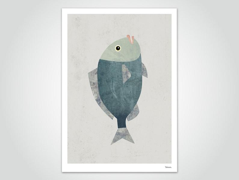 banum fish  fish poster maritim art print digital print image 0